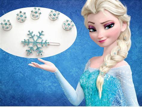 Elsa Button Hairclips new frozen elsa jelweled snowflake hair pin set pack of 6 ebay
