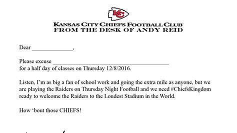 Excuse Letter For School Yahoo This Letter From Andy Will Get You Out Of Work Or School For The Chiefs Raiders