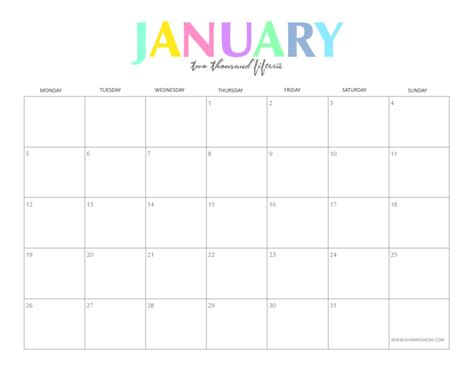January 2015 Calendar Printable Free Printable Monthly Calendar January 2015