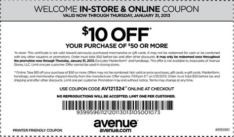 The Avenue Coupons Printable 2013 avenue free shipping code promo codes 50 2015