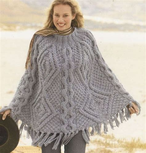 aran knitting patterns mega chunky cable aran poncho vintage