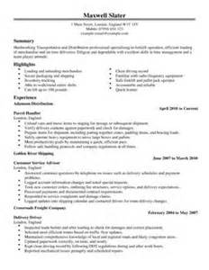 transportation cv template transportation exle cvs