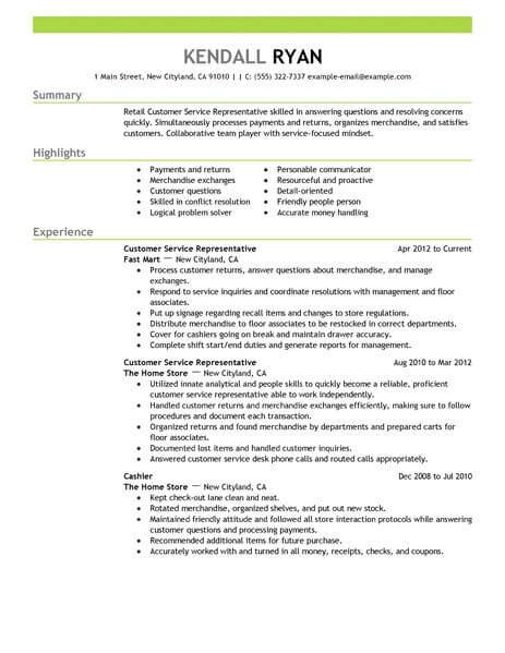 resume sles for customer service best retail customer service representative resume exle livecareer