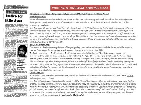 Analysis Essay Introduction by Year 9 Language Analysis Topic Vicious Attacks Ppt