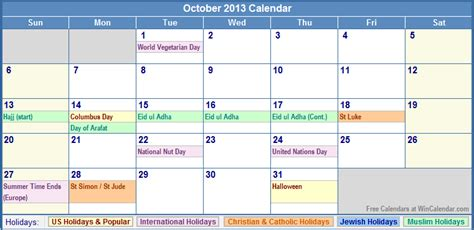 october 2013 calendar with holidays as picture