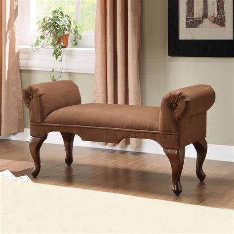 rolled arm bench furniture acme furniture aston microfiber rolled arm bench in