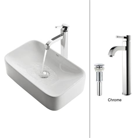 Chrome Kitchen Sink Shop Kraus White Ceramic Chrome Vessel Rectangular Bathroom Sink With Faucet Drain Included At