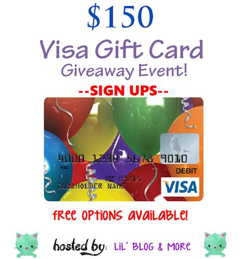 150 Visa Gift Card - bloggeropp 150 visa gift card giveaway event sign ups close 3 18