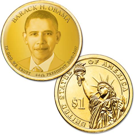 obama presidential caign colorized presidential dollar with golden hue barack