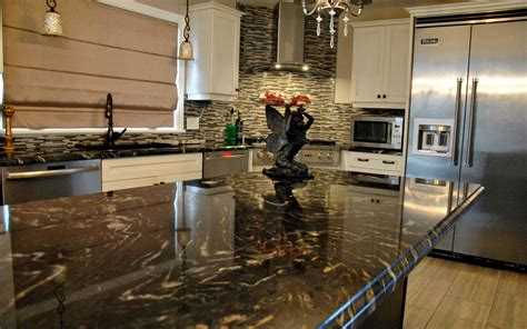 Mosaic Tile For Kitchen Backsplash by Curly Medley Titanium Granite Countertop