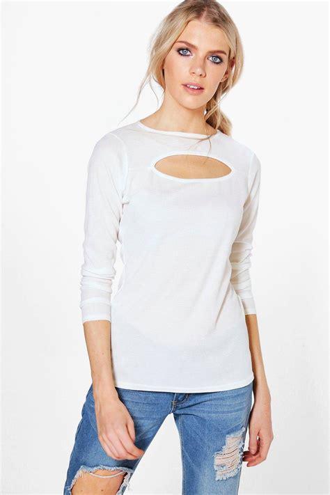 Cut Top boohoo womens cut out rib sleeve top ebay