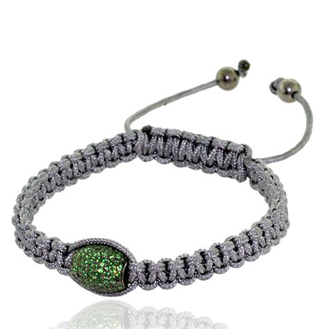 Sterling Silver Handmade Jewelry - 2 1ct tsavorite bead macrame bracelet 925 sterling silver