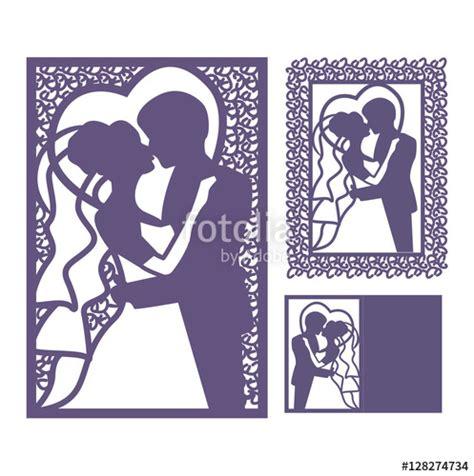 quot bride and groom silhouette laser cut invitation vector