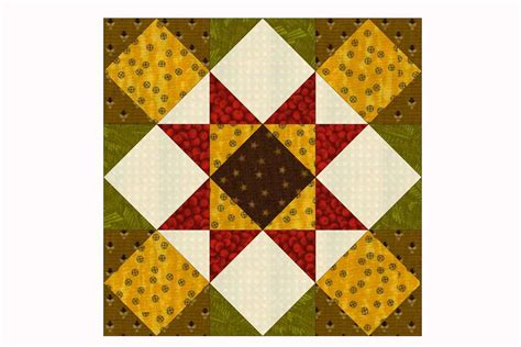 quilt pattern with different size blocks kansas star quilt block pattern in two sizes