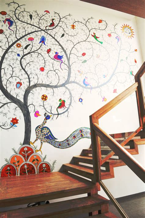 wall decor vadodara gujarat kalamkari wall installation at armieda spa ahmedabad