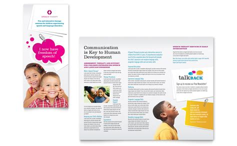 educational handout template speech therapy education tri fold brochure template word