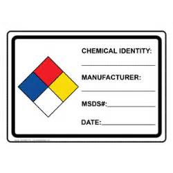 Chemical Label Template by Nfpa 704 Chemical Identity Manufacturer Msds Date Sign