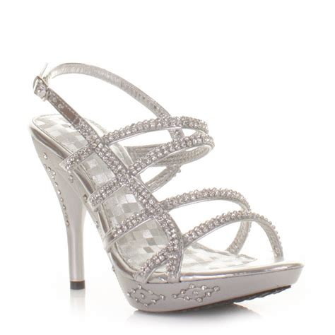 womens strappy silver diamante prom shoes