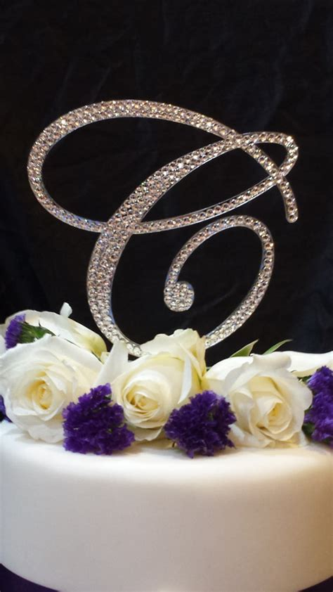 rhinestone cake toppers for wedding cakes 6 quot initial monogram wedding cake topper swarovski