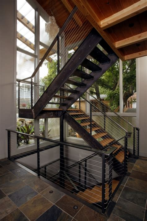 the modern steel staircase inside and outside in the