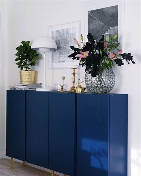 besta hack sideboard glossy bold blue paint on ikea ivar cabinets makes a big
