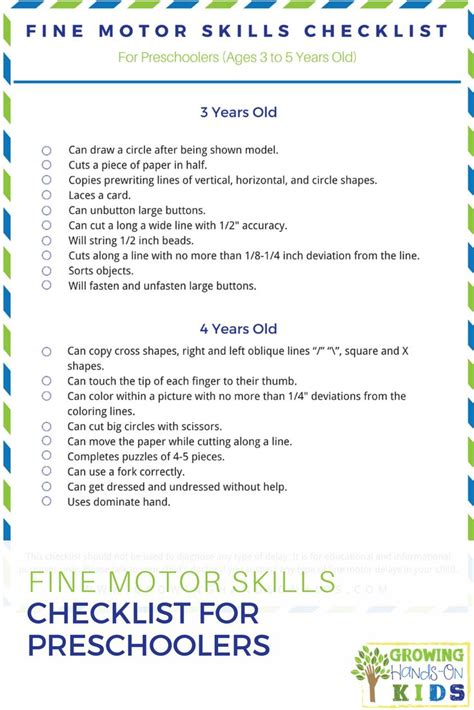 therapy for motor skills motor skills checklist for preschoolers ages 3 5