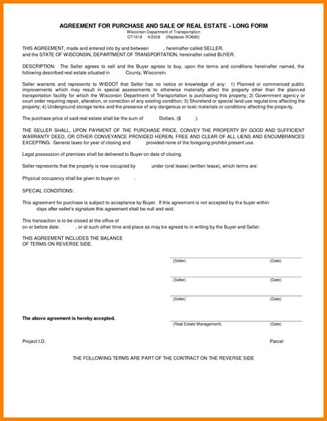 8 free real estate purchase agreement template
