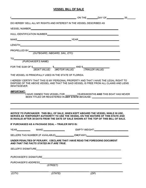 florida boat bill of sale itemized free florida vessel bill of sale pdf word do it