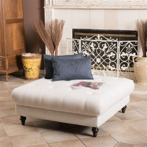 Tufted Upholstered Ottoman Coffee Table Square White Upholstered Tufted Ottoman Coffee Table For