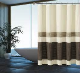 Beige And White Striped Curtains Brown Beige Striped Fabric Shower Curtain Pintuck Design Ebay