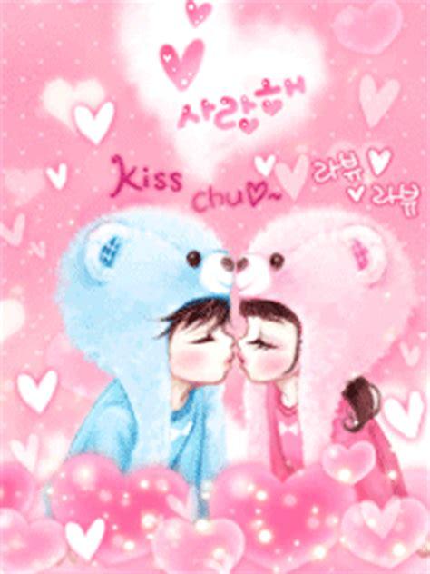 wallpaper couple pink cute korean animated graphics glitter puffs