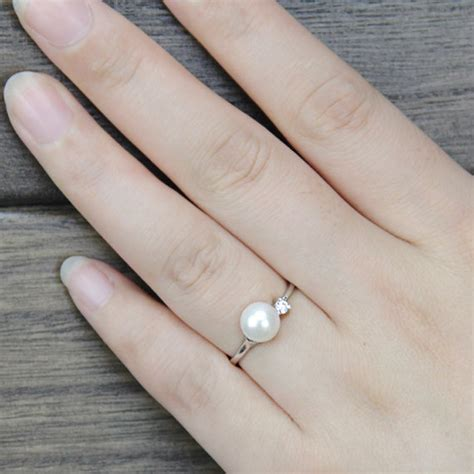 genuine pearl ring cz engagement rings anniversary ring