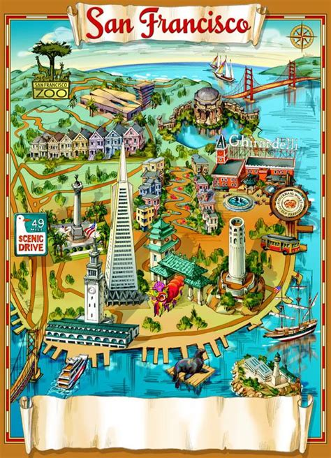 map of usa san francisco pictorial map collection
