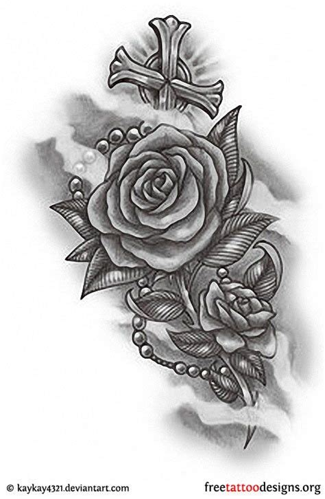 rose rosary and cross tattoo design new tats