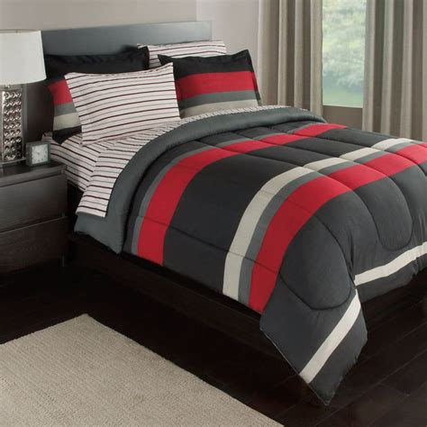 bed comforter sets queen black gray red stripes boys teen queen comforter set 7 piece bed in a bag ebay