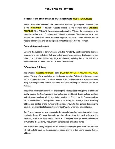 Free Terms And Conditions Template by 40 Free Terms And Conditions Templates For Any Website
