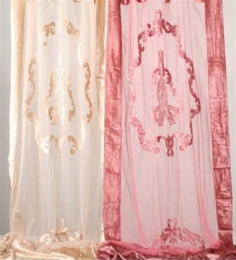 pink velvet drapes shabby french provincial chic pair embossed curtain drapes