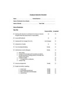 induction template for new employee employee checklist template 9 free word pdf documents