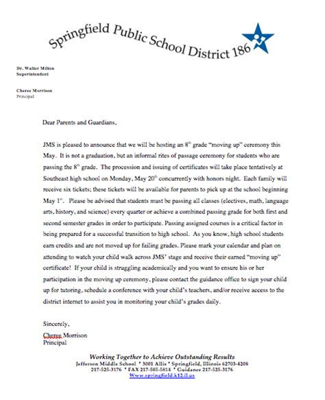 up letter to parents jefferson middle school news