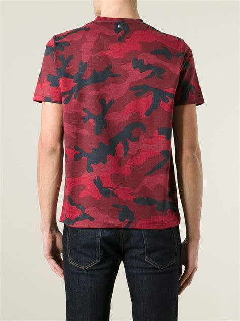 valentino rockstud camouflage t shirt in for lyst