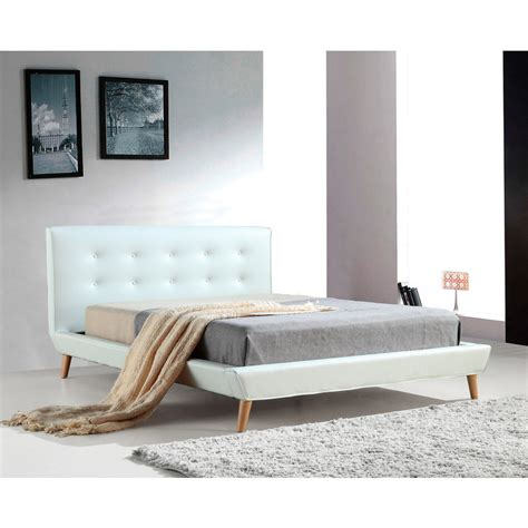 Button Tufted Bed Frame Button Tufted Pu Leather Bed Frame In White Buy