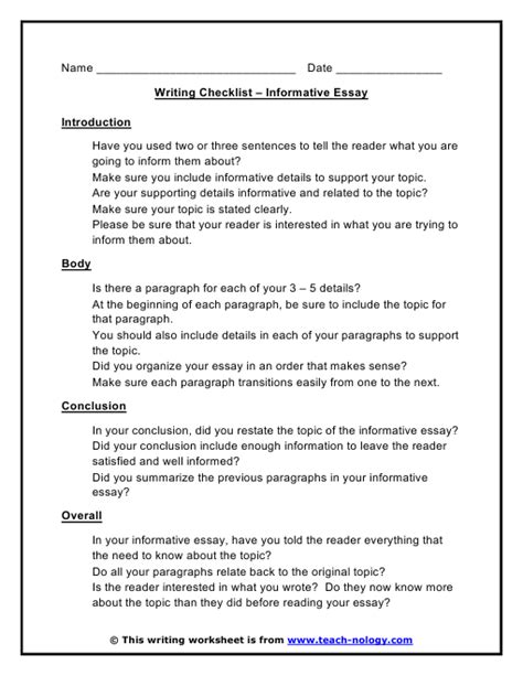 Informative Essay Introduction Exles by Resume Exles Templates Essay Writing Checklist High School Students Printable Writing