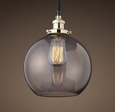 Restoration Hardware Island Lighting 20th C Factory Filament Smoke Glass Caf 233 Pendant Polished Nickel Restoration Hardware