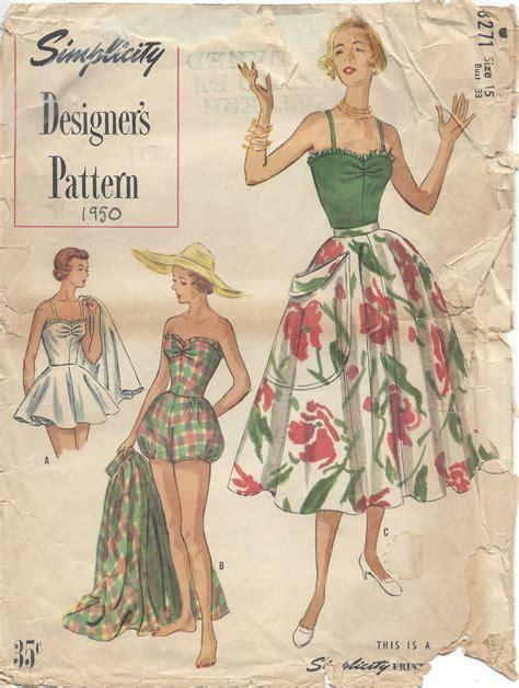 vintage patterns 1950s a 1849940940 1950 vintage sewing pattern b33 bathing suit skirt rr975 the vintage pattern shop