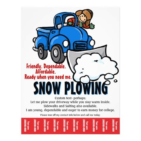 Collection Of Snow Removal Winter Plowing Template Flyer Zazzle Com