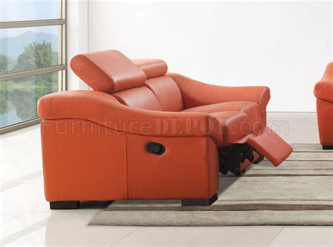 orange leather recliner 8021 reclining sofa in orange full leather by esf w options