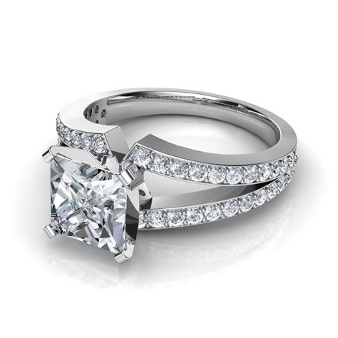 Princess Cut by Split Shank Princess Cut Engagement Ring