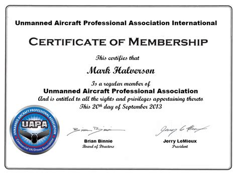 certificate of organization template uapa membership unmanned vehicle