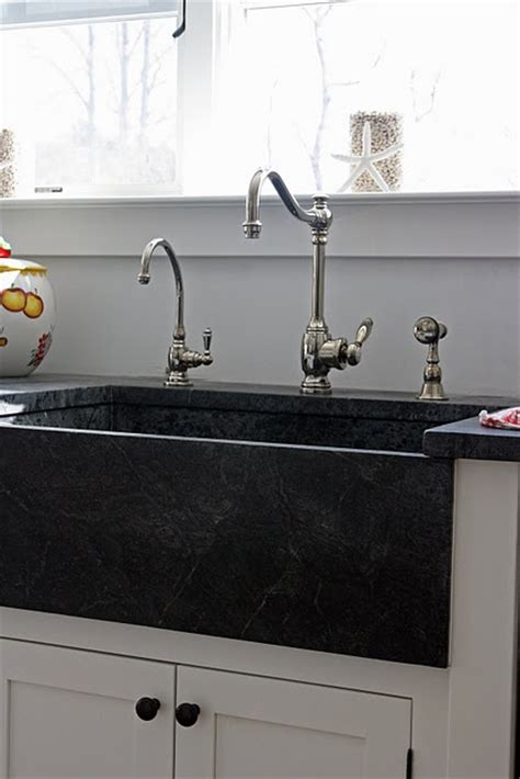 black soapstone farm sink design kitchen space decor