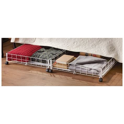 under bed rolling storage winsome 2 under bed roll out storage bins with white